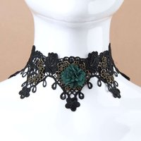 Vampire Lace Choker Necklace Black Red Crystal Pendant Chunky Necklace Lace Link Chain Maxi Necklace Vintage Neck Jewellery