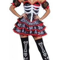 Women Bride Vampire Skull Costume Adult Halloween Carnival Party Mexican Day Of The Dead Dress Sexy Cosplay Costume Star Wars/M